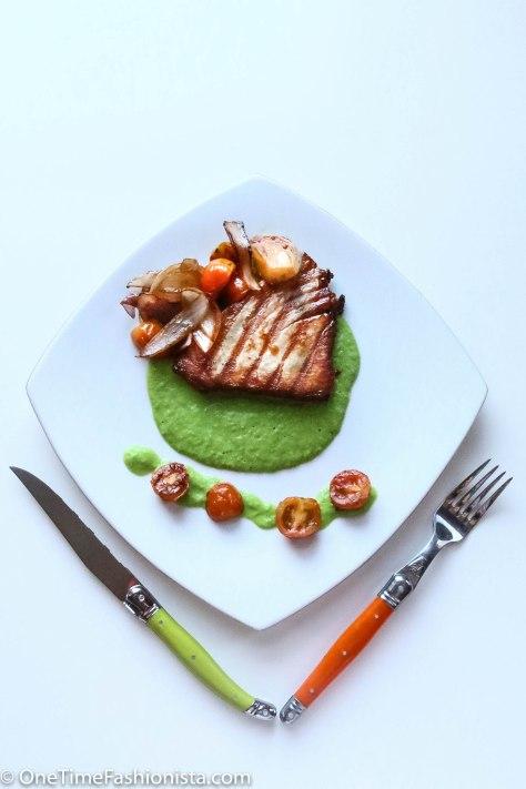 Charcoal Tuna Steak Swimming in Sea of Green Pea Mash