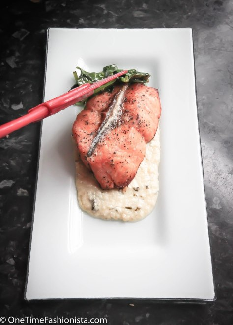 Baked Salmon Served With Lemon Butter Sauce, Spinach & Baby Potatoes