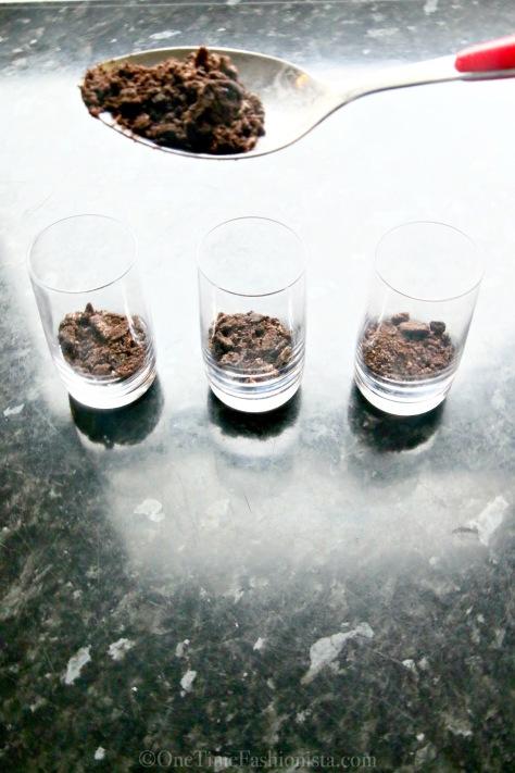 Dessert In A Shot Glass: Layered Oreo Cheesecake Chocolate Brownie