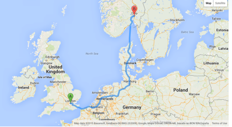 London to oslo distance 1736 km, 1. 35 minutes by air.
