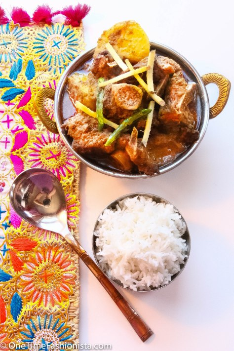 Mutton Rezala served with steamed basmati rice