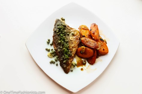 Escaping with Italian Gino: Sea Bass Served with Carrot-Caper Salad