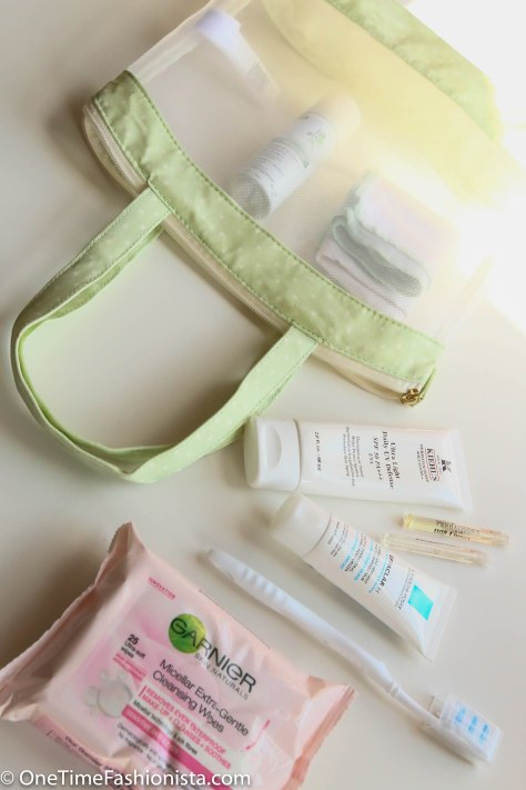 Buy travel size toothpaste, face wash etc. and pack them all in a transparent travel-toiletries-kit. Make use of those sample bottles you got free from the store last time when you bought perfume