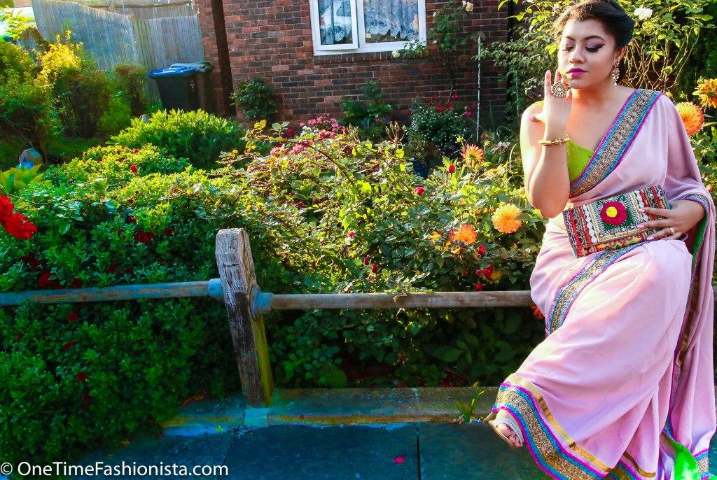 SareeSutra: Durga Puja Look: How to Refashion Plain Yardstick to a Designer Saree