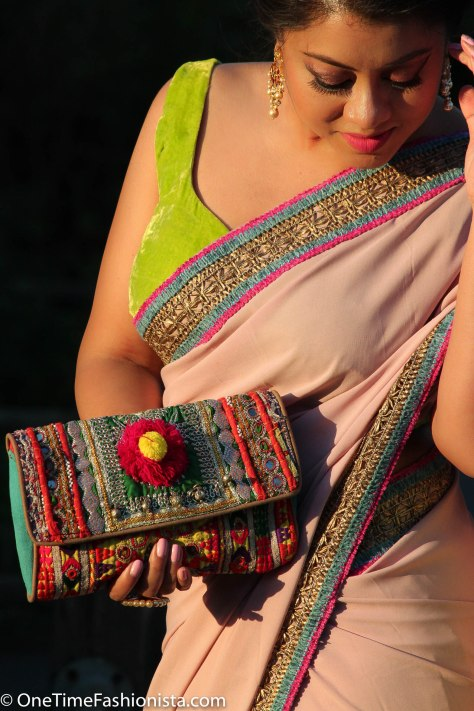 SareeSutra: Durga Puja Look: How to Refashion Plain Yardstick to a Designer Saree