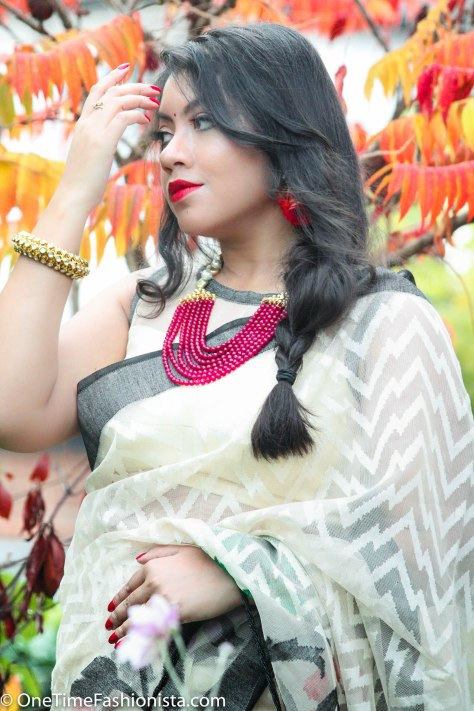 SareeSutra: Durga Puja Look: Wearing Bamboo Silk Handloom Saree