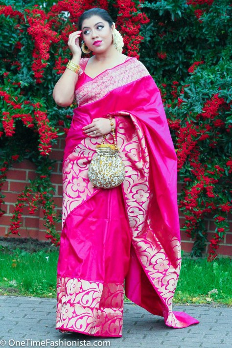 SareeSutra: Durga Puja Look: Wearing Kanjeevaram Silk and Amrapali Jewels