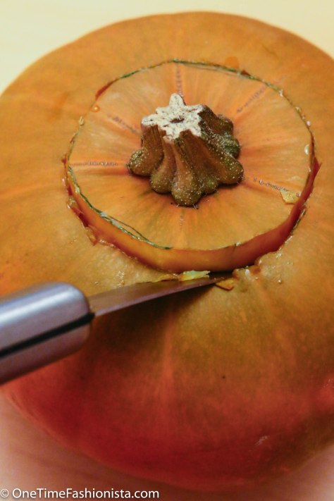 The first step is hollowing out the pumpkin. Use a keyhole saw to cut the hole. If you'll be using a candle for illumination, you can cut the hole in the pumpkin's top (always put the candle in a high-sided glass, and never leave unattended).