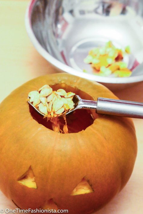 Scoop out flesh, pulp, and seeds with a fleshing tool or an ice-cream scooper