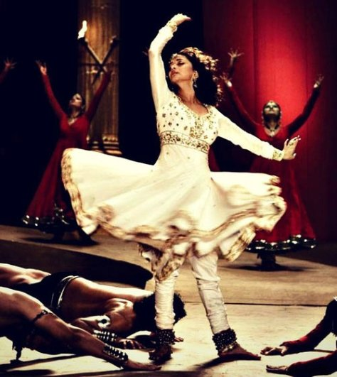 Bollywood Actress Madhuri Dixit in a lookalike white chiffon Anarkali with gold embellishment in a dance sequence from the film ''Aaja Nachle'' (image source: Google)