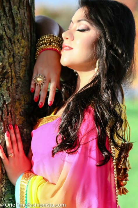 SareeSutra: Diwali Look: Donning Rainbow in AYINAT By Taniyaa O'Connor
