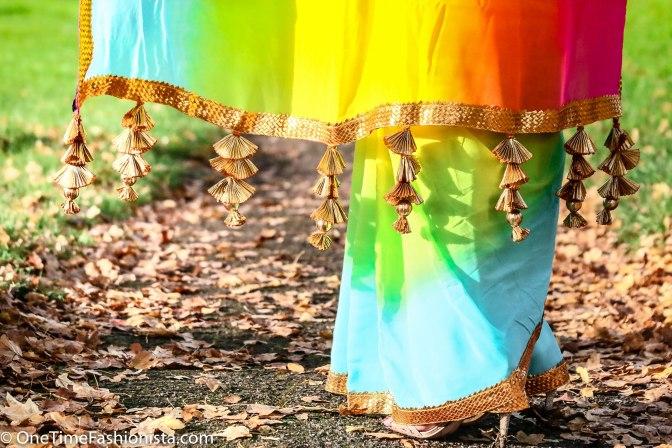SareeSutra: Diwali Look: Donning Rainbow in AYINAT By Taniyaa O'Connor