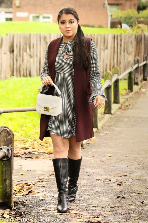 70's Vibe Boho Dress Layered With Tailored Vest