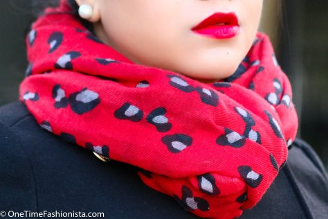 Primark Red Scarf in Animal Print and Illamasqua Maneater Lipstick