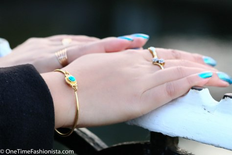 Round Turquoise Bracelet from TribebyAmrapali and Max Factor Nail lacquer Dazzling Blue