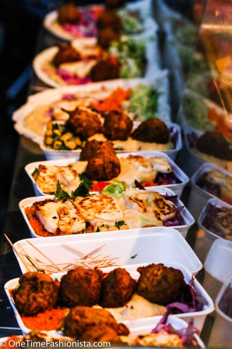 Falafel in a box served with haloumi cheese and couscous