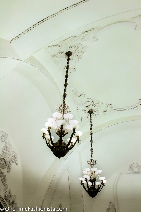 Long hanging chandelier - characteristically Palace like