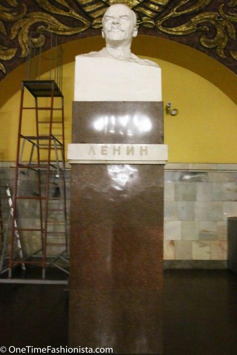 Lenin's statue at the Komsomoloskaya metro station, Moscow