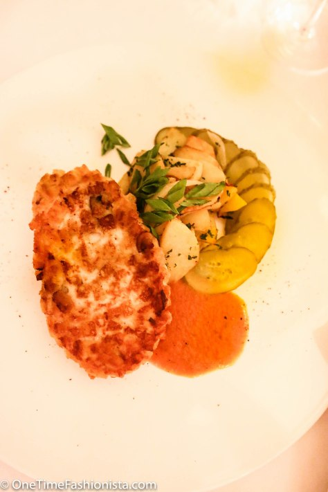 Tanusree's main course: crispy chicken kiev served with courgette and roasted potatoes
