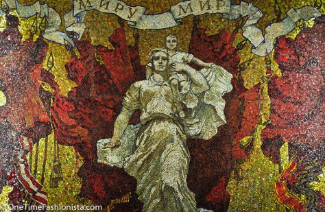 Mosaic art on the wall at Avotovo Station