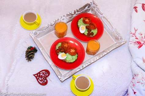 Sunday Breakfast in Bed: Avocado Toast Served With Juice & Tea
