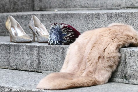 Oomph of luxury: Metallic Shoes, Faux fur stole and Sequins-beaded bucket bag