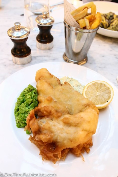 Traditional battered cod & chips with mashed pea lunch for the lady