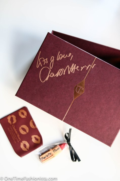 Personally autographed makeup box by Charlotte Tilbury given away complimentary on launch day