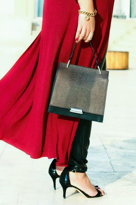Zara city Bag, Long cape, Leather pants