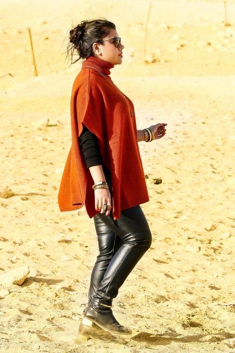 Egypt Lookbook: Chunky Knit Poncho