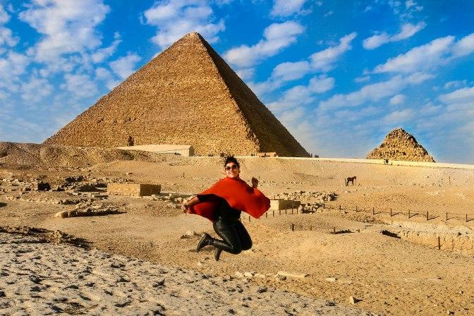 Jump of joy in Pyramids of Giza