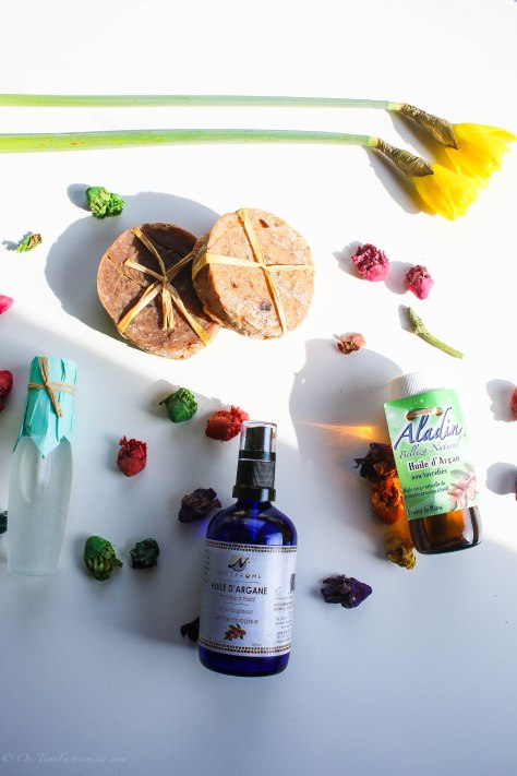 Cosmetic Argan oil, Argan oil hair serum and handmade soaps shopped in Morocco
