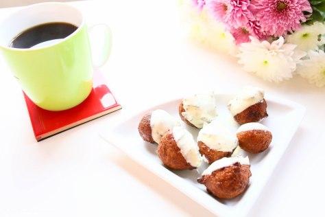 Teatime Snacks: Brown Banana Balls Coated With White Chocolate