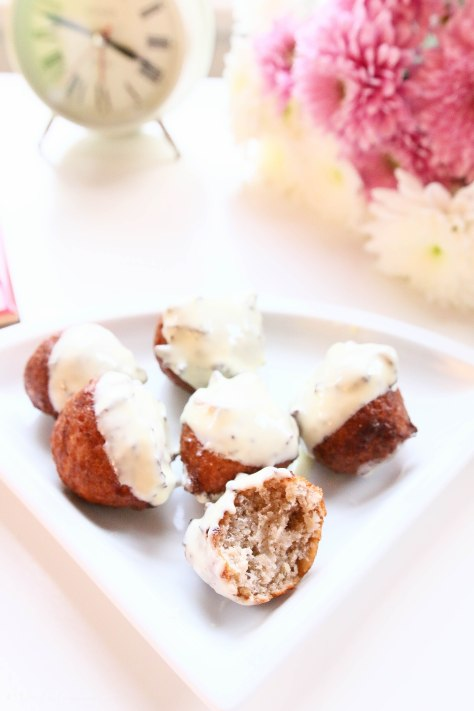 Teatime Snacks: Brown Banana Balls Coated With White Chocolate