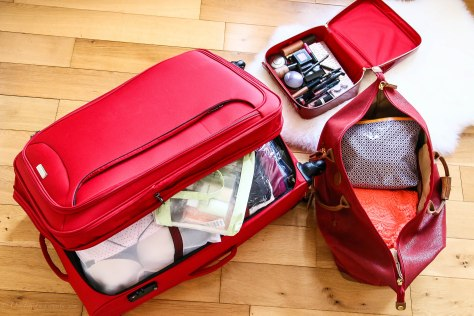Vanity from Elizabeth Arden, Red Suitcase by Marche from TK Maxx and Hold-on Luggage by Brics from TK MaXX