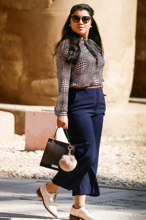 Egypt Lookbook: Zara Pussy Bow Blouse + Zara Tailored Culottes