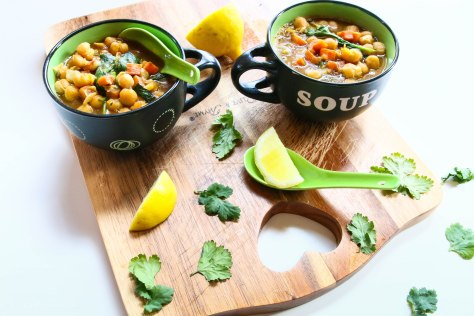 A Hearty Bowl of Soup With Chickpeas and Spinach