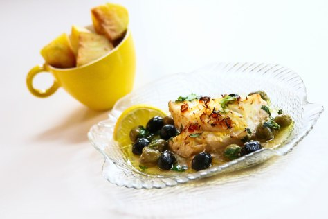Cod with Olives and Lemon Drenched in White Wine