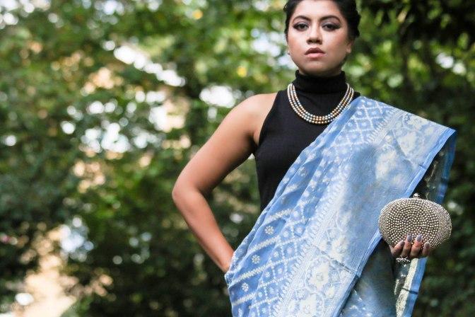 SareeSutra: Durga Puja Look: Jamdani Print Tangail Half-Silk Saree