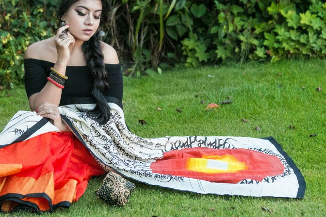 SareeSutra: Durga Puja Look: Samanjri's Raw Silk