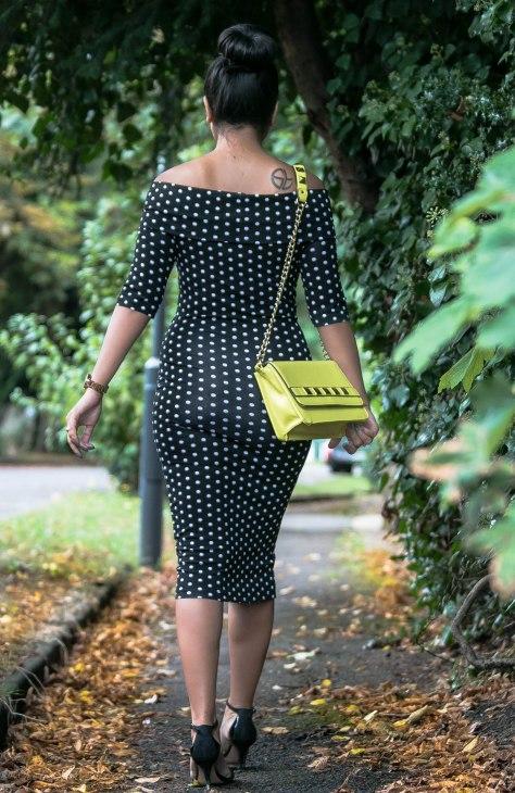 Off Shoulder Bodycon Polka Dot Midi Dress