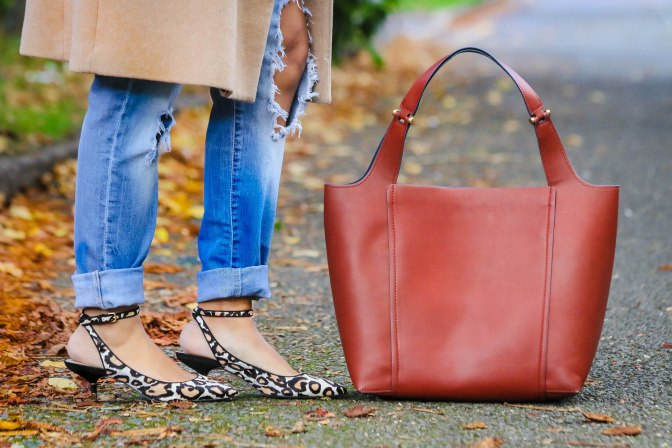 Casual Autumn Ready: Camel Coat & Leopard Print Kitten Heels