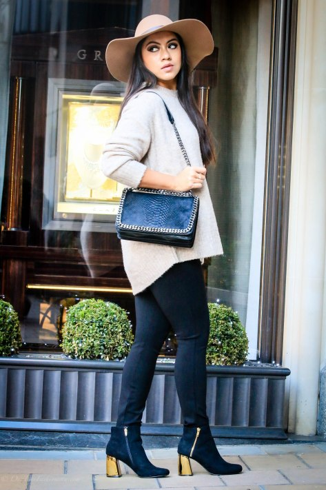 Double The Warmth: Oversized Sweater & Metallic Heeled Boots