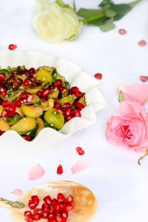 Christmas Side Dish: Brussels sprouts with pomegranate & Sesame
