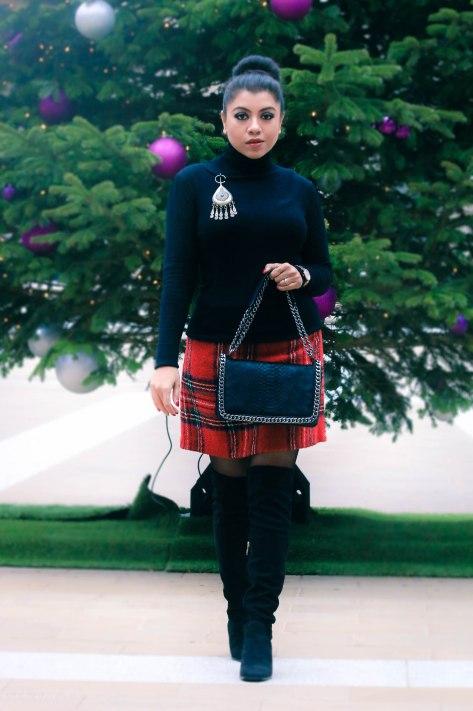 Winter Rhythm: Tartan Skirt & Over-the-knee Boots