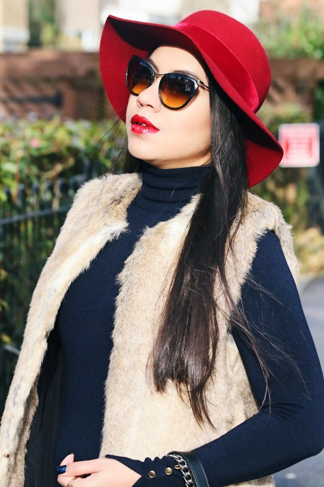 Winter Blush: Red Fedora Hat & Faux-fur Gilet