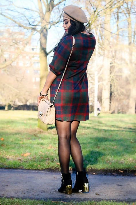 Impress That: Plaid Dress & Beret Hat