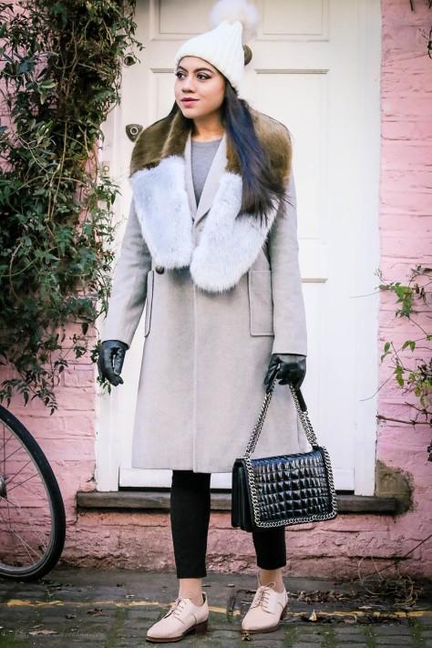 Winter Grey: Double Breasted Coat & Pom Pom Beanie Hat