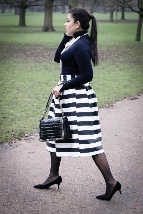 Monochrome Mood: Striped Skirt & Pearl Necklace