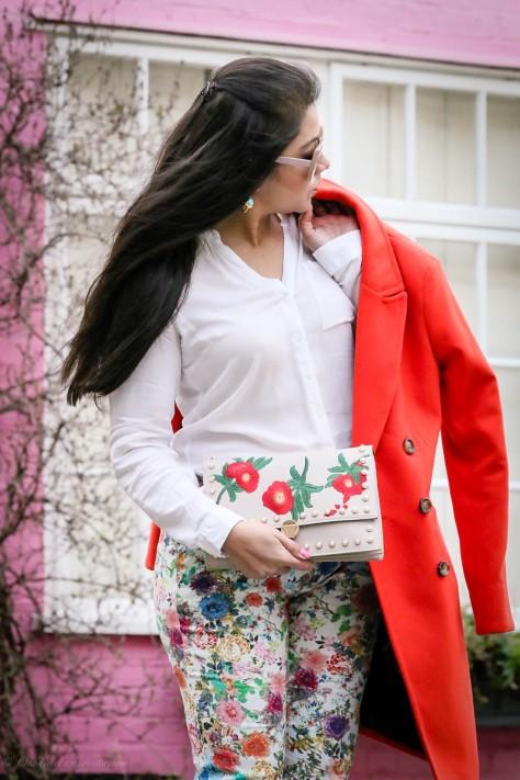 Spring Vibes: Orange Coat & Floral Prints